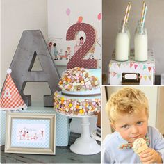 Vintage fabrics and illustrations are the inspiration for this simply charming party. A licorice-embellished cake, fabric pennants, and charming pom-pom details make this party one of a kind.  Source: Graeme Sharkey