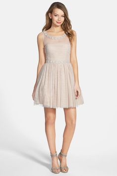 'Audrey' Embellished Illusion Yoke Skater Dress (Juniors) by WAY-IN on @nordstrom_rack