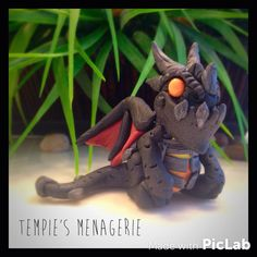 Lil' Deathwing World of Warcraft WoW Dragon polymer clay figurine by TempiesMenagerie
