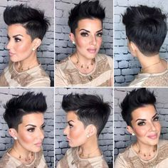 :) I love this hairstyle. I would love to try this look someday. Funky Short Hair, Super Short Hair, Short Hair Cuts For Women, Short Hair Undercut, Haircut For Thick Hair, Pixie Cut With Undercut, Cheveux Courts Funky, Very Short Haircuts, Edgy Pixie Haircuts