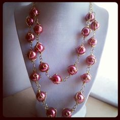 Gold wire wrapped pink pearl on gold plated chain by ILoveBeads247, $18.00