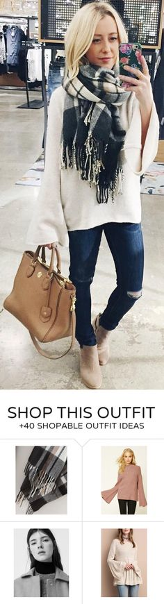 #winter #fashion / White Oversized Knit / Black Fringe Scarf / Destroyed Skinny Jeans / Camel Leather Tote Bag / Light Suede Booties