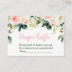 Boho Floral Pink Gold Baby Shower Diaper Raffle Enclosure Card Boho Baby Shower, Floral Baby Shower, Baby Shower Invites For Girl, Baby Shower Invitations, Girl Shower, Pregnancy Announcement Cards, Baby Girl Elephant, Baby Shower Activities, Gold Baby Showers