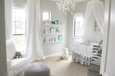 Elegant girl nursery love neutral gray with white contrast