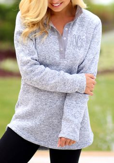 Monogrammed Heathered Pullover Tunic in Athletic Gray from Marleylilly.com!