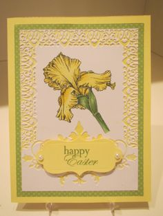 Iris stamp onto embossed background, colored with Copic markers.