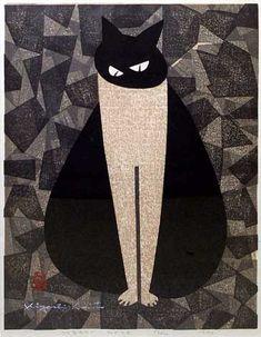 cat eyes |  Woodblock print, 1951 | 秋山画廊  Kiyoshi Saito