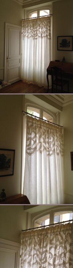 L'atelier de la Marquise : réalisation de rideaux brodés, tête ruflette