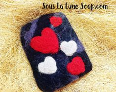 Felted Soap Bar with Hearts design