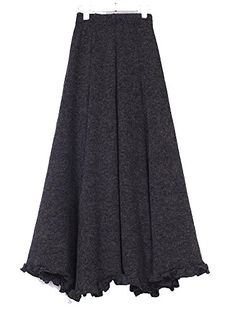 Kufv® Women's Vintage Knitted Wool Ruffle Mermaid Big Hem Maxi Skirt -- Be sure to check out this awesome product.