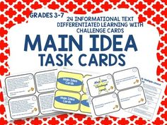 Main idea task cards are a wonderful way for students to practice the skill of acquiring the most important information in a passage. Enjoy this FREE sample of a task card and upload the entire packet for only $3.00 at my teacher store WWW.TEACHPEEK.COM.