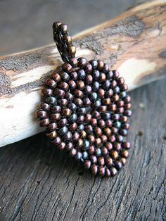 Iridescent Burgundy Woven Seed Bead Leaf by missficklemedia, $19.00
