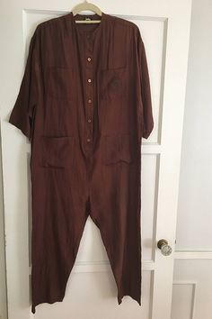 Vintage Silky Jumpsuit by Judy Knapp of California small shoulder pads still in tact ; Vintage Jumpsuit, Silk Jumpsuit, Chocolate Brown, Duster Coat, Men Casual, Trending Outfits, Mens Tops, Jackets, Etsy