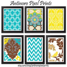 Digital Wall Art Turquoise Brown Yellow Tan Vintage / Modern Inspired  Art Prints Collection  -Set of 6 - 8x11 Prints -   (UNFRAMED). $55.00, via Etsy.