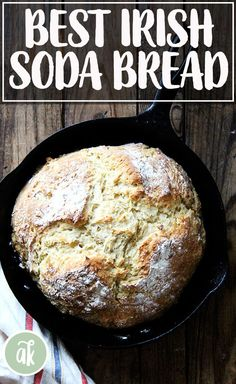 THE BEST Irish Soda Bread — so simple and satisfying! Here are two recipes: one calls for 100% all-purpose flour; the other calls for a mix of whole wheat, all-purpose, and wheat germ, which produces a slightly denser but no less delicious, chewy, tangy loaf. Each dough takes about 5 minutes to mix-up and each will be ready to be slathered with butter and marmalade about an hour later. #irish #soda #bread #buttermilk #simple #castiron #skillet #stpatricksday