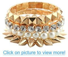 Ladies Gold Bundle Stretch Bracelet with Spikes, Pyramids, Pearls and Stones #Ladies #Gold #Bundle #Stretch #Bracelet #Spikes #Pyramids #Pearls #Stones