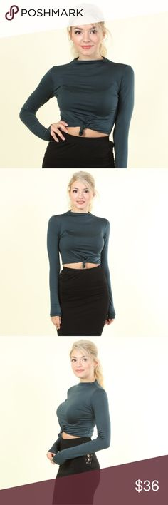 😍new in my boutique😍 long sleeve crop top ♡♡♡♡♡♡♡♡♡♡♡♡♡♡♡ NEW ITEM IN MY BOUTIQUE ! ♡♡♡♡♡♡♡♡♡♡♡♡♡♡♡  NEW FALL FASHION MUST HAVE!  Suuuupper soft Long sleeve top  With knotted crop detail  Gorgeous dark teal color  🔥❤😍super cute with any high waisted bottoms 🔥❤😍   Available in various sizes Tops Tees - Long Sleeve