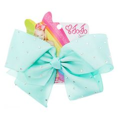 JoJo Siwa Large Rhinestone Mint Signature Hair Bow