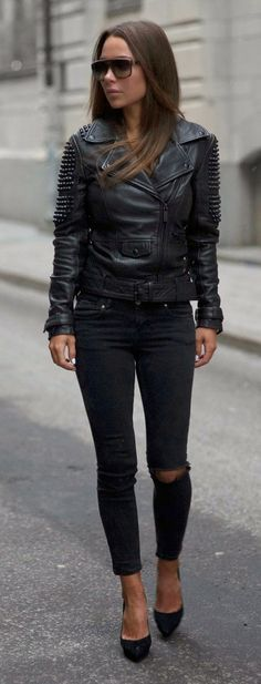 Everything Perfect Black Outfits # Specially Leather Jacket