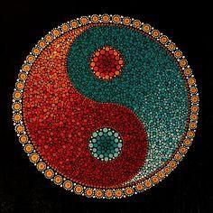 Ying Yang This is an image of my hand painted, acrylic on canvas, yin yang mandala design. Dot Art Painting, Rock Painting Designs, Mandala Painting, Mandala Drawing, Pebble Painting, Pebble Art, Stone Painting, Arte Yin Yang, Yin Yang Art