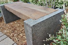 Concrete wood inlay bench
