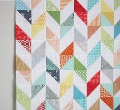 half square triangle herringbone quilt top