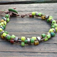 Green Mosaic Bracelet - Green Recycled Glass Beads, Brown Hemp, Multi Strand Bracelet. $14.00, via Etsy.
