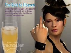 The Ride to Heaven – Lin. 1 oz Bourbon, oz Apple Schnapps, oz Coconut Rum, Dash of Angostura Bitters, Fill with ginger beer Yummy Snacks, Yummy Drinks, Non Alcoholic Drinks, Cocktails, Saint A, Saints Row, Coconut Rum, Drinking Games, Bebe