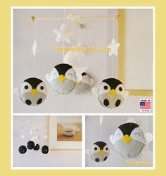 Penguin Mobile, Baby Mobile, Baby Crib Mobile, Antarctic World Nursery,White stars and moon, Penguin Nursery Decor, Custom Mobile