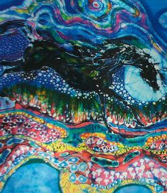 Horses Born of Moon Energy - batik fabric panel from original batik - Custom printed fabric