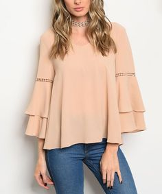 Forever Lily Khaki Double-Layer Bell-Sleeve Top | zulily
