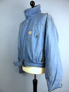 Retro blue quilted parka