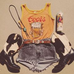 Festival Outfit Fuck your pantsuit, these are our kinda work clothes. Badass Coors tank coming s. Fuck your pantsuit, these are our kinda work clothes. Badass Coors tank coming soon, and Rawhide Ranch Ponyhair Boots up for grabs now on Cowgirl Outfits, Western Outfits, Western Wear, Music Festival Outfits, Festival Fashion, Music Festivals, Festival Gear, Country Music Outfits, Country Concert Outfit Summer