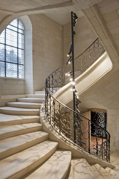 Fontevraud Abbey Hotel// Spiral Staircase. Love the Lighting//