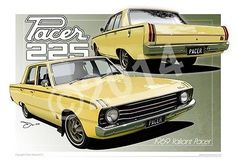 1969 VALIANT PACER FRAMED ART PRINT ISIS YELLOW FROM UNIQUE AUTOART