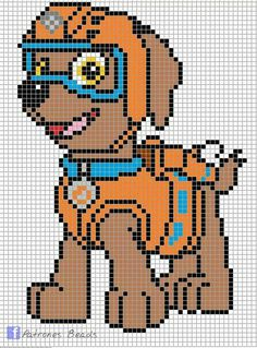 Discover thousands of images about Zuma - PAW Patrol perler pattern - Patrones Beads / Plantillas para Hama Cross Stitch For Kids, Cross Stitch Kits, Cross Stitch Charts, Cross Stitch Patterns, Zuma Paw Patrol, Paw Patrol Party, Hama Beads Patterns, Beading Patterns, Crochet Patterns