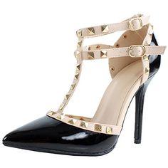 3fe0fa1b2d9 Wild Diva Adora64 Gladiator D orsay Multi Metal Stud Ankle Strap Stiletto  Heel Pumps
