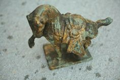 Antique Japanese Cast Iron Horse Statue Metal Horse Old