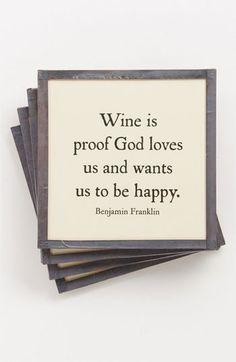 Ben's Garden 'Wine Is Proof' Coaster Set | Nordstrom