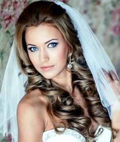 Bride's long down wedding hairstyle