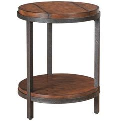 The Baja Round End Table features a rustic look and modern design that add style to any room. This country-style table, crafted in amber-stained ash and wr End Tables, Occasional Tables, Apartment Hacks, Wood And Metal, Country Style, Living Room Furniture, Family Room, Modern Design, Dining Table