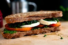 Tomato, Kale and Mozzarella Sandwich With Parsley Pesto by Martha Rose Shulman | Photo: Andrew Scrivani for The New York Times