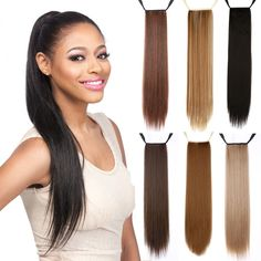 16/20/24inch Long Straight Fake Hair Ponytail  Hair Piece Drawstring Ribbon Hairpiece Clip In Pony Tail Hair Extensions Multic -- Click the VISIT button to enter the website