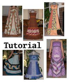 Festival Dress PDF Pattern Tutorial - Base Design for Hippie Patchwork Corset Back Dresses Patchwork Dress Festival Wear Hippie Dress