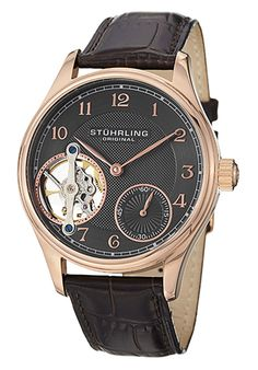 Price:$180.00 #watches Stuhrling Original 492.3345K54, This men's timepiece is elegant and classy. The oscillating balance wheel is visible at 9 o'clock, adding even more visual appeal to the dial. A small seconds subdial features at the 5 o'clock position.
