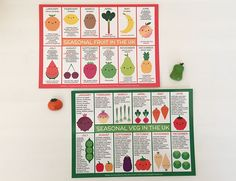 UK Seasonal Fruit & Vegetables - Set of 2 Kawaii Postcards (1.00 GBP)