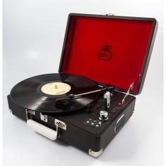 GPO Attaché - Suitcase Record Player Black
