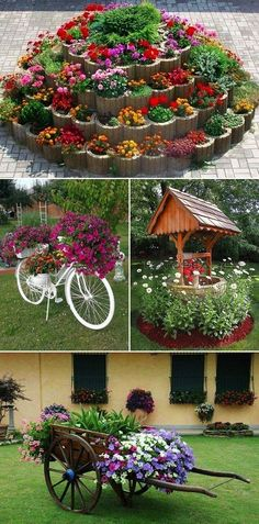 MENTŐÖTLET - kreáció, újrahasznosítás: Virágos kert Garden Yard Ideas, Diy Garden Projects, Garden Crafts, Diy Garden Decor, Garden Art, Front Yard Landscaping, Plant Decor, Flower Pots, Flowers