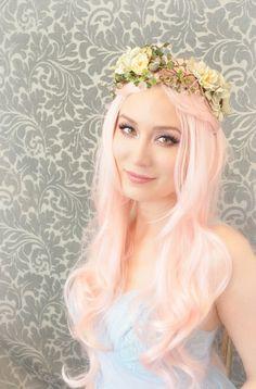Floral crown mermaid hair wreath flower head by gardensofwhimsy