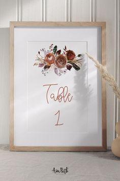Rust Boho Wedding Table Numbers - #rustwedding #burntorangewedding #bohowedding #bohemianwedding #rusticbohemian #boho #rustic #bohoflorals #wedding #weddinginspo #template #digitaldownload #diy #tablenumber #weddingtablenumber